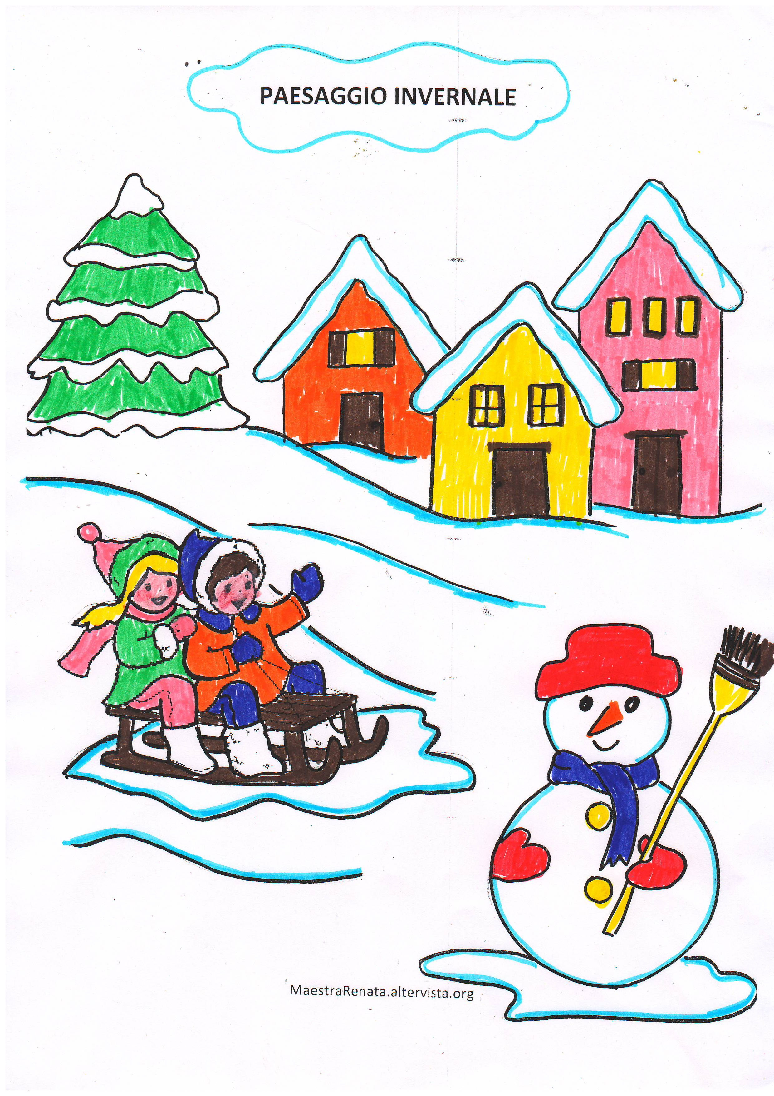 Lapbook inverno maestrarenata for Paesaggio invernale disegno